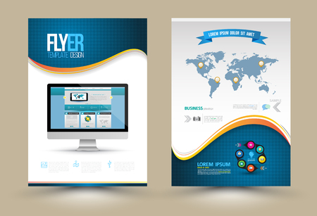 curved lines: Vector Poster Templates with website on computer. Template for Business Documents, Flyers and Placards. Computer Technologies, Communication and Online Services Infographic Concept.