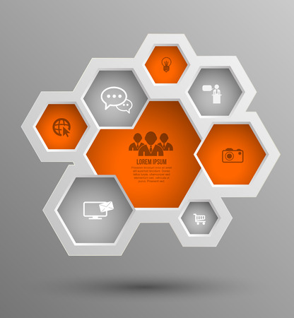 frame design: Vector hexagon group with icons for business concepts, info-graphic, modern banner template, education chart, business brochure, system diagram, and printing ad.