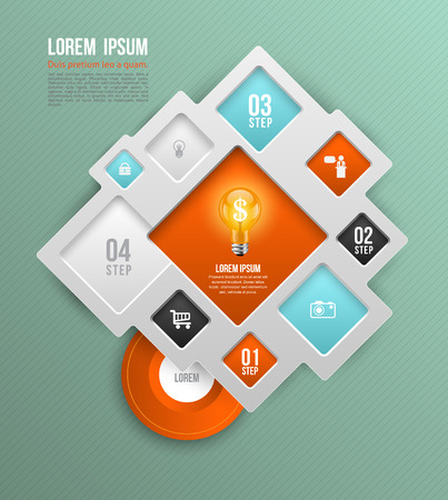 tendance: Vector square concepts with icons, can use for info-graphic, modern banner template, education template, business brochure, system diagram, and printing ad.
