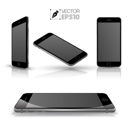 Mobile phone isolated on white. Realistic smartphones vector set. Vector illustration. Vector
