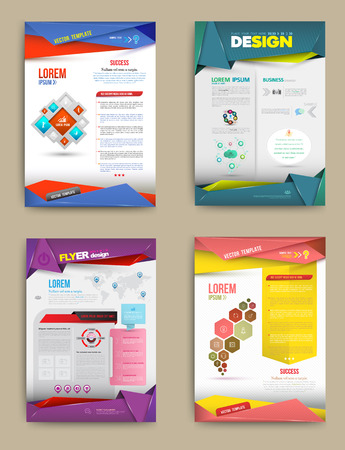sjabloon: Set van Flyer, Brochure ontwerpsjabloon. Abstracte moderne achtergronden. business concept. Vector illustratie.