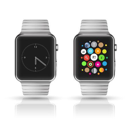 Smart watch mockup. Vector illustration.