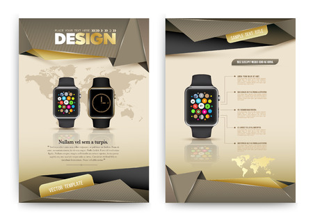 wearable: Abstract Vector Brochure Template with smart watch. Flyer Layout. Infographic Elements. Vector illustration. Illustration