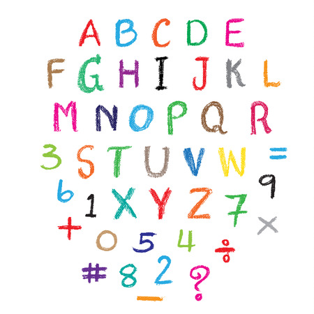 Child drawing of alphabet font made with wax crayons. Vector illustration. Vettoriali