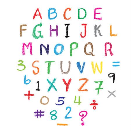 Kind tekening van het alfabet lettertype gemaakt met waskrijtjes. Vector illustratie.