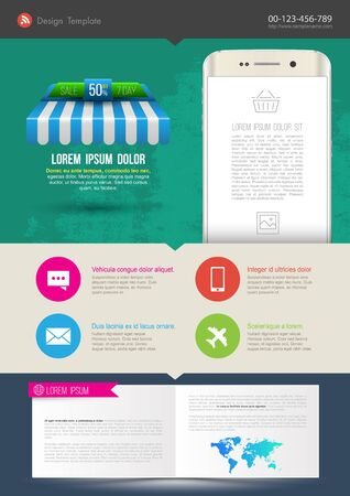 Template design with smartphone monitor. Vector illustration. Can use for poster printing and web design. Illustration