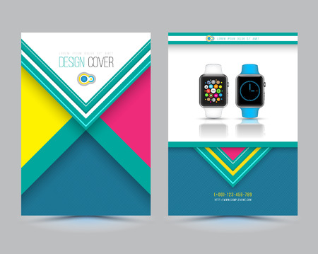 Abstract Vector Brochure Template with smart watch. Flyer Layout. shadows style. Infographic Elements. Vector
