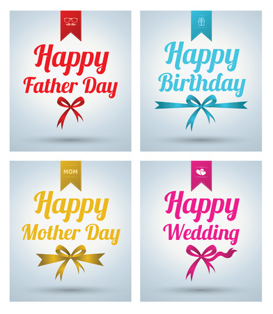 birth day: Happy Father Day, Mother day, Wedding, Birth day, Banner set. Vector illustration.