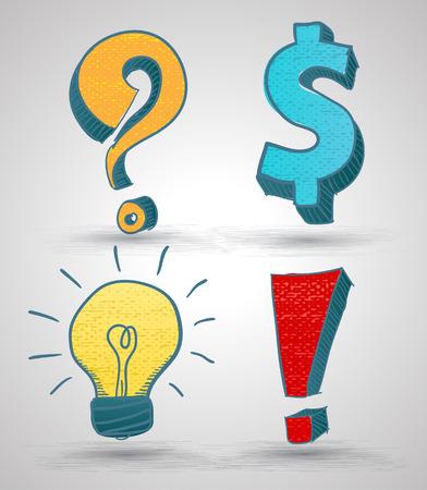 Doodle symbol set with texture. Vector illustration. Question mark, Dollar sign, Light bulb, Alert sign. Vettoriali