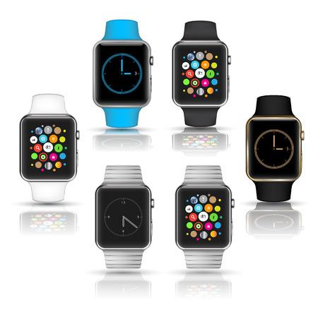 Smart horloges draagbare collectie computer nieuwe technologie. Vector Illustratie. Vector Illustratie