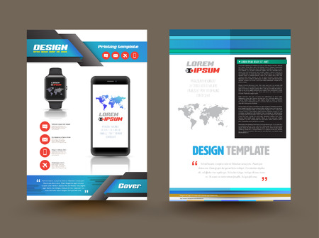 Vector brochure template design for technology product. Business graphics brochures. Used for cover layout, infographics, brochures, flyers and prints. Vector