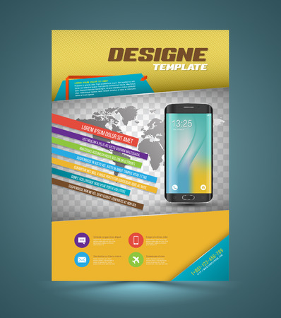 smartphone business: Vector brochure template design with smartphone. Business graphics brochures. Used for cover layout, poster, infographics, brochures, flyers and prints.