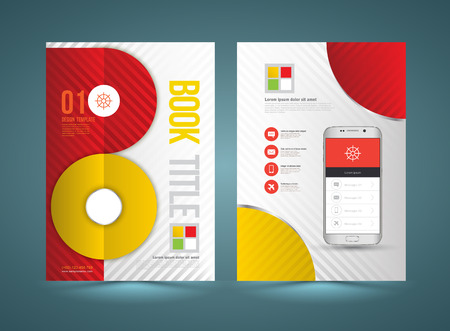 smartphone business: Vector brochure template design with new smartphone. Business graphics brochures. Used for cover layout, infographics, brochures, flyers and prints. Illustration