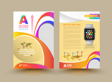 Vector brochure template design with smart watch. Business graphics brochures. Used for cover layout, infographics, brochures, flyers and prints. Vector