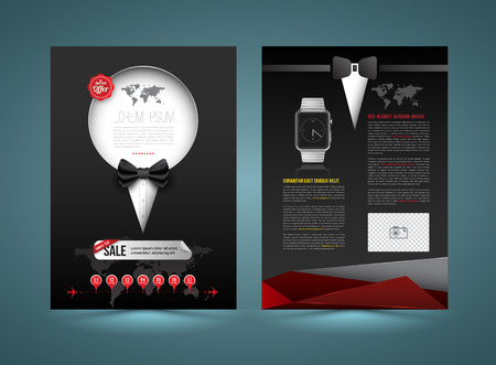 lazo negro: Vector plantilla de folleto estilo de diseño de esmoquin. Folletos gráficos comerciales. Se utiliza para diseño de cubierta, infográficos, folletos, volantes y estampados y para el cartel de promoción.