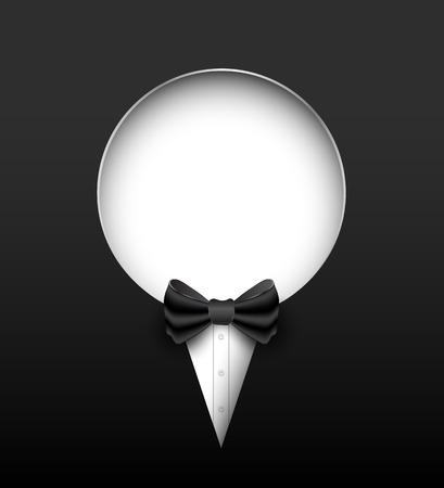 dressy: Tuxedo vector bandera del c�rculo. Ilustraci�n del vector. Se puede utilizar para la bandera promoci�n. Vectores