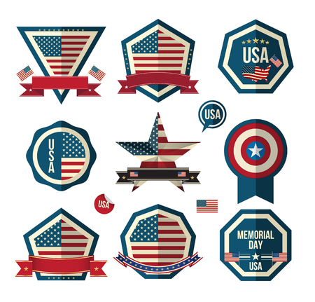 independent day: Badges vector set. Can use for greeting card Memorial day Independent day and labels miscellaneous. Vector Illustrator.