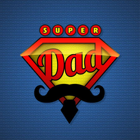 dads: Super dad shield in pop art style. Vector illustration. Fathers day design. Illustration