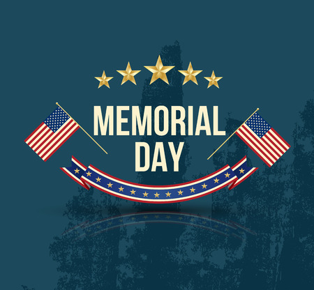 Happy Memorial Day with texture Stars Stripes and flag. Vector illustration. Vettoriali