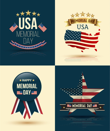 ribbon vector set: Happy Memorial Day Vector Set Patriotic American Flag and Ribbon Vector Set. Vector illustration. Illustration