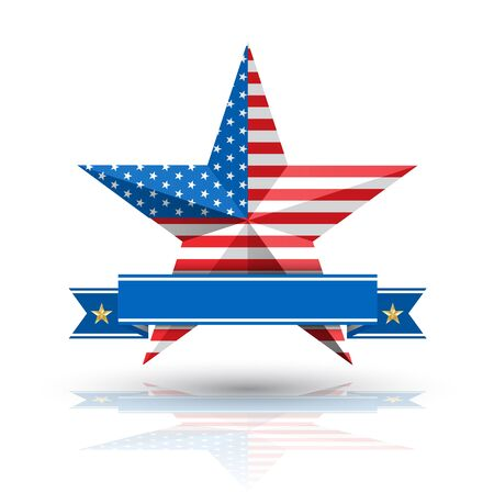 big star: Big Star American Flag on White background. Vector illustration. Can use for america event.