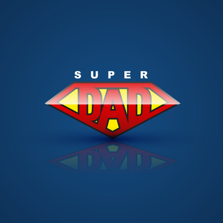 Super dad shield on blue back ground. Vector illustration. can use for farther day card. Çizim