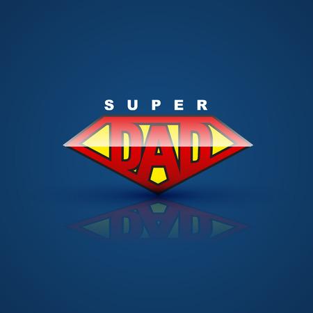 super dad: Super dad shield on blue back ground. Vector illustration. can use for farther day card. Illustration