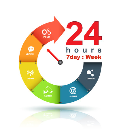 around the clock: Service and support around the clock 24 hours a day and 7 days a week symbol isolated on white background. Stylized blue icon Illustration