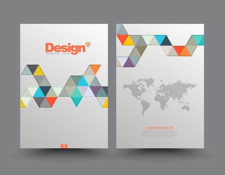 design: Cover modèle avec des morceaux de triangles de papier de couleur. Utilisez pour le livre, brochure, flyer, affiche, brochure, dépliant, la conception de la pochette, carte postale, carte de visite, rapport annuel. vecteur. abstrait