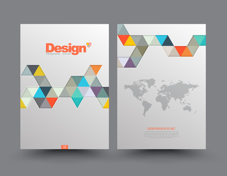 DESIGN: Template Cover with pieces of colored paper triangles. Use for book, brochure, flyer, poster, booklet, leaflet, cd cover design, postcard, business card, annual report. vector. abstract background