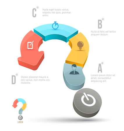 questionail: Vector Question mark business concepts with icons. can use for info graphic, loop business report or plan, modern template, education template, business brochure, system diagram.