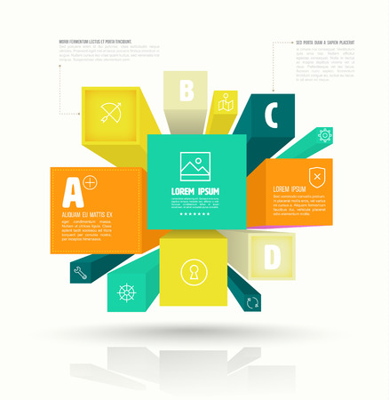 tendance: Vector cube box for business concepts with icons. can use for info-graphic, business report or plan, modern template, education template, business presentation.
