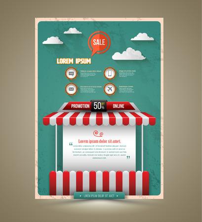 Hot promotion sale poster roof shop vintage style. Vector illustration. Can use for promotion sale.