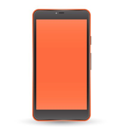 handphone: Modern orange color touchscreen cellphone tablet smartphone isolated on light background. Empty screen. Vector illustration.