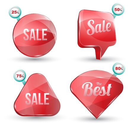 volume discount: Shiny gloss red banner sale set. Vector illustration. Can use for promotion and advertising on printing and website.