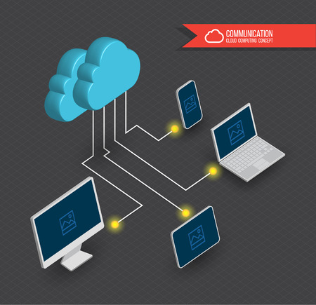 Cloud computing diagram 3D style. Vector illustration.