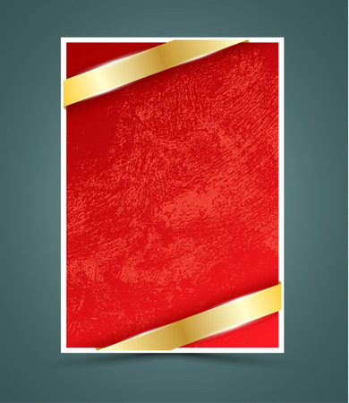christmas cover: Red paper with gold ribbon. Vector illustration. Can use for background printing, advertising and christmas new year card.