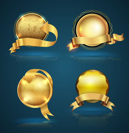 insignia: Establece la cinta insignia oro. Ilustración del vector. Se puede utilizar para la garantía y la bandera de la venta de etiquetas.