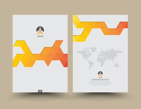 informe: Cubra delante plantilla y patrón de triángulo hacia atrás estilo moderno. Diseño abstracto del diseño del triángulo para el folleto revista presentación flyer folleto cartel cubre el informe anual de tamaño A4.