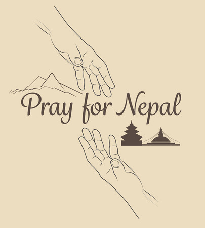 seismic: Help for NEPAL Earthquake Crisis nature abstract on helping hands. Vector illustration.