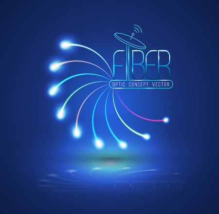 Abstract Light and line. Vector illustration. Can use for finer optic concept advertising. Fiber optic connection, business communication, network technology, can use for brochure and infographic Çizim