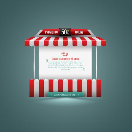 Vector illustratie van een kraam. Kan gebruiken voor promotie verkoop. Kan gebruiken element voor poster promotie en reclame.