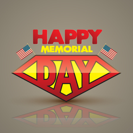 national hero: Happy memorial day superhero style. Vector illustration. Can use for memorial day card.