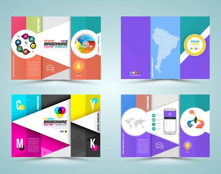 newsletter: Professional business three fold flyer template, corporate brochure or cover design, can be use for publishing, print and presentation. Vector illustration.