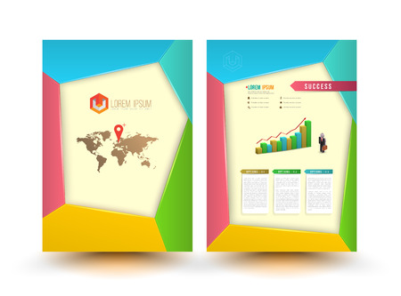 booklet: Abstract design vector template layout for magazine brochure flyer booklet cover annual report in A4 size. Vector illustration.