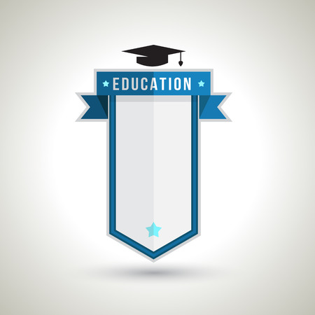 estudiando: Educaci�n Dise�o de la insignia para la creaci�n de Plan de Estudios, Programaci�n, Mesa, Lista, calendario, agenda, gr�fico o cualquier representaci�n de datos, ilustraci�n vectorial. Aislado en el fondo blanco Vectores