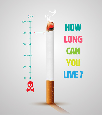 World No Tobacco Day Banner With Cigarette and Message. Stop smoking idea concept, Life ends loading. Çizim