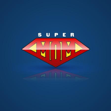 红色超级妈妈盾牌。超级英雄的风格。矢量插图。可用于母亲节贺卡及祝母亲生日快乐。