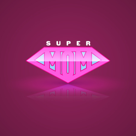 super woman: Pink super mom shield. Super hero style. Vector illustration. Can use for mothers day card and Happy birth day for mother.