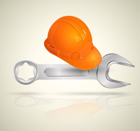 industrial worker: Wrench and helmet for Industrial worker. Vector illustration. Illustration